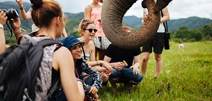 Lek Chailert with Vet Students and Elephant