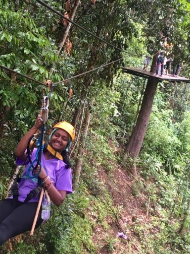 Loop Student on zip line in Northern Thailand