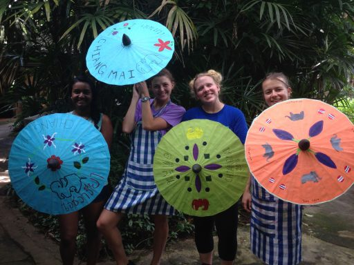 Loop Abroad Students with hand made parasols
