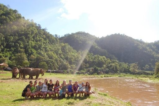 Student group at elephant nature park