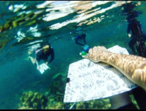 Student carrying dive slate while SCUBA diving